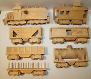 Vintage Hand Crafted Wood Train Set Of 7 Piece Toy Or Holiday Décor Train Cars