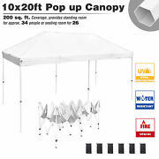 Commercial 10x20 Ft Pop Up Canopy Tent Instant Folding Trade Fair Shelter White