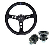 Prp Deep Dish Leather Steering Wheel Blue 6 Bolt Quick Release Polaris Can Am