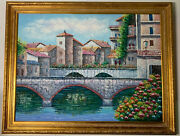 Vintage Original Oil Painting On Canvas By K Wallis Framed And Signed
