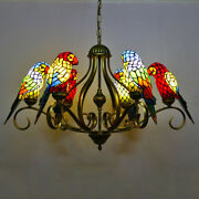 Vintage Parrot Shade Stained Glass Ceiling Light Wrought Iron Chandelier
