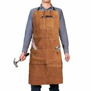 Work Shop Apron Cowhide Real Leather 6 Tool Pockets Heat Durable Welding Apron