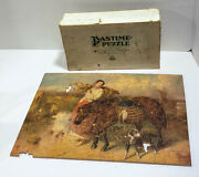 Vintage Pastime Picture Puzzle When Day Is Done Wooden Jigsaw Free Shipping