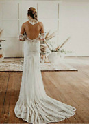 Sexy Boho Floral Lace Fringes Backless Gypsy Hippie Gown Beach Wedding Dress