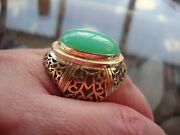 Vintage 10k Gold Filigree Very Large Ring With Green Cabochon Stone 15 Gr Size 8