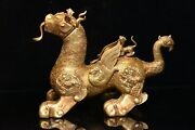 Chinese Rare Han Dynasty Old Copper Handmade Gilded God Beast Fengshui Dragon