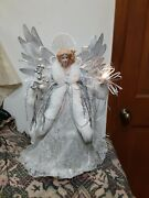 Large Table Or Tree Top Fiber Optic Angel 17 Inches Tall Winter Wonderland