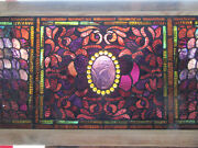 Amazing Antique Stained Glass Transom Window 23 Jewels 43 X 23 Salvage