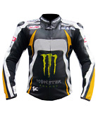 Mens Yellow Monster Energy Leather Jackets Motorcycle Suit Bikers Jacket Trouser