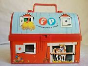 Vintage Fisher Price 549 Toy Lunch Box Red Barn Box Thermos Plastic 1962  L11