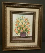 Vintage Painting Of Peach Roses In Purple Vase Signed By Raymon Da Cassata