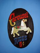 Vintage Carousel Horse Ride 5 Cents Sign Resin Carved Carnival Rides