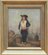 Boy Fisherman W Pole Rope Fishing Boat Antique Oil Painting Lois Caradec France