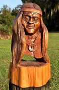 Rwh Massive Museum Quality Signed Hand-carved Cypress Knee American Indian Bust