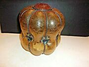 Vintage Art Deco Wire Caged Amber Hand Blown Glass Lamp Shade