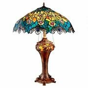 Katlot Art Nouveau Peacock Style Stained Glass Table Lamp