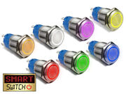22mm Angel Eye® Halo Spst Stainless Steel Push Button Led Metal Switch Ae22