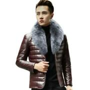 Mens Fox Fur Collar Thicken Warm Business Work Real Sheep Leather Down Jackets L