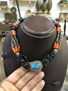 Antique Arabic Middle East Necklace Silver High Caliber Coral Turquoise Stone