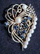 19th C 14k Yellow Wire Gold Leaf Brooch W/pearls And Carved Sapphire Berries