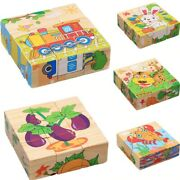 6 Sides Wooden Jigsaw 3d Puzzle Toys Childrens Early Educational Cube Baby Kids