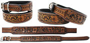 Amish 100 Cow Leather Heavy Duty Padded Leather Tooled Dog Collar 60fkdog