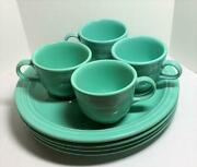 4 Homer Laughlin Fiestaware Sea Mist Green Snack Plates And Cup Sets Retired
