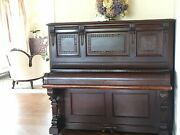 Spectacular Antique Horace Waters And Co Cabinet Grand Carved Upright Piano