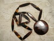 Vtg Faux Tortoise Shell Necklace 27 Elongated Beads And 2 Round Disc Estate Find