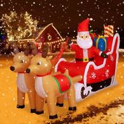 Santa Claus On Sleigh With Two Reindeer Inflatable Outdoor Christmas Decoration