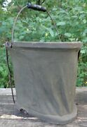 Antique Military Olive Drab Green Collapsible Canvas Bucket W/ Wooden Handle