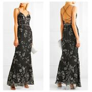 1295 Siz 8 Marchese Notte Embellished Embroidered Gown Black Metallic Floral