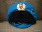Vintage Serbia Military Beret W/2 Badges Blue Good Condition
