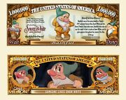Bashful Dwarf From Snow White Novelty Dollar Bills Comes In A Soft Polly Sleeve