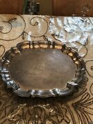 """Vintage Leonard Silverplate Serving Tray Footed 14.5"""" With Creamer And Sugar Set"""