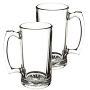 Glass Mugs With Handle 16oz, Large Beer Glasses For Freezer, Set Of 2