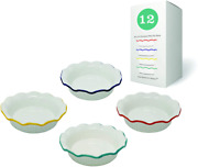 Porcelain Ceramic Individual Mini Pie Pans With Classic Fluted 12 Packs
