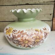Vtg Glass Lamp Shade Floral Painted Hurricane Parlor Replacement 6.75 Fitter