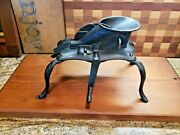 Antique 1800's Cast Iron Cherry Stone Pitter Mounted On Wood Board Farm Kitchen