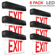 6 Pcs New Red Panel Led Lettering Slim And Low Exit Emergency Sign Us