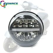 Black Led Headlight Assembly Replacement For Motorcycle Vespa Gts300 2019-2020