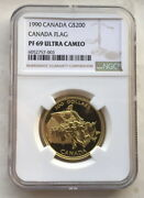 Canada 1990 Nation Flag 200 Dollars Ngc Pf69 Gold Coinproof