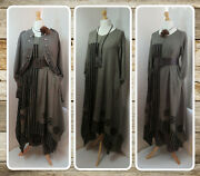 Bnwt Lagenlook Brown And Mocha Striped Maxi Dress And Necklace By Cover Up