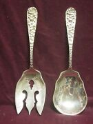 Sterling Stieff Stieff Rose Salad Serving Set 2pc Spoon And Fork No Mono