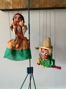 Antique/vintage Marionette Puppets Clown And Red Braided Girl Lot/2
