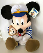 Disney Captain Mickey Mouse With Duffy Bear Rare Large 25 Inch Plush Nwt
