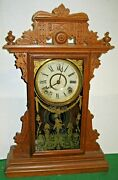 Antique 8 Day E.n. Welch Dickens Mantel/ Shelf Chime Clock Working Forestville