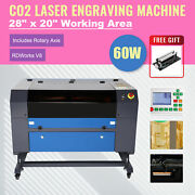 60w 28x20 Co2 Laser Engraver Marking Engraving Cutting Ruida With Rotary Axis