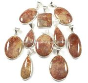 New 100 Pcs Lot Natural Palm Root Fossil 925 Silver Plated Bezel Pendants Bbp831