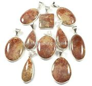 New 50 Pcs Lot Natural Palm Root Fossil 925 Silver Plated Bezel Pendants Bbp-803
